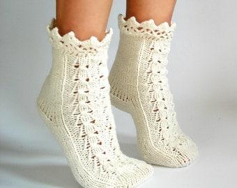 Romantic cozy socks. Pretty handmade woman socks. Lace knitted socks. Winter socks. Very warm socks.