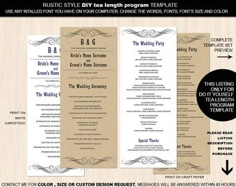 Printable Rustic Style tea length program template| DIY wedding programs| Instant download| Rustic| Country wedding| Black and white