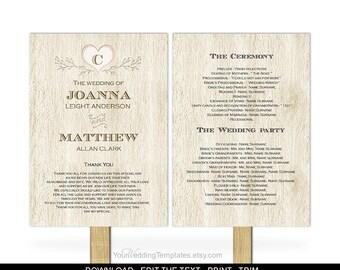 Rustic wedding program fan template-DIY wedding program fan template-Printable-Instant download-rustic| wooded| heart