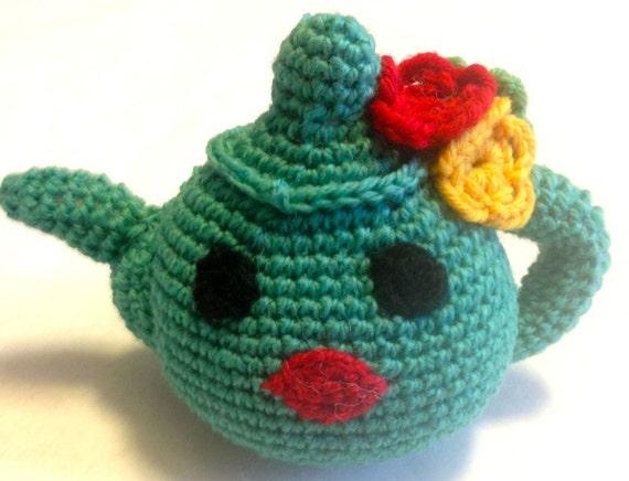 Amigurumi Crochet Teapot Pattern : Turquoise Flower Teapot Amigurumi Crocheted Stuffed