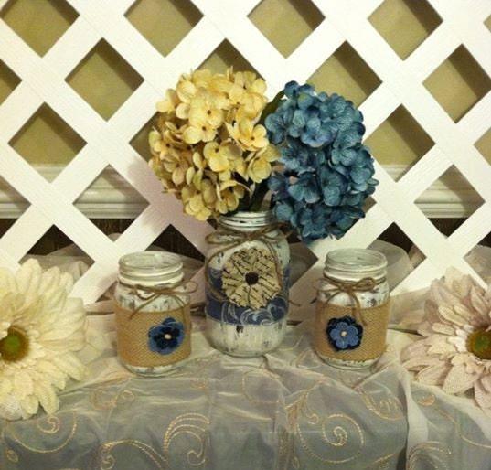 Painted mason jars denim and lace mason jars rustic for Denim centerpieces