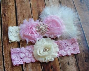 Pink Bridal Garter Set, Wedding Garter, Toss Garter, Feather Garter, Lace Garter, Crystal Garter, Lace