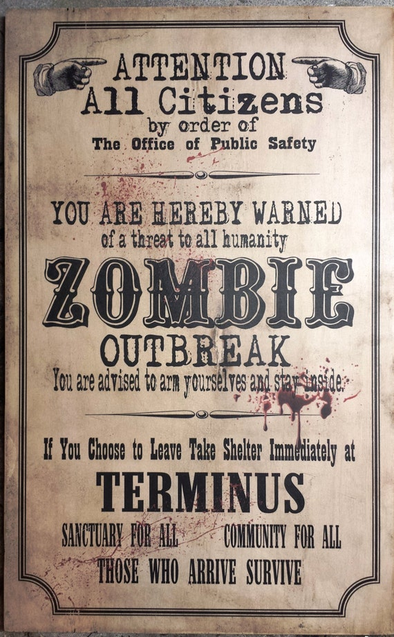 Items Similar To Walking Dead Terminus Zombie Sign
