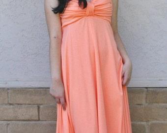 M Peach Maxi Gown Sundress 1970s