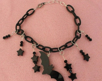 Black Bat, Star,Glass Bead Charm Bracelet