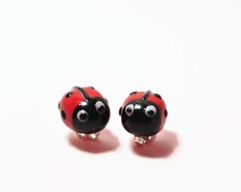ladybug earrings, ladybug jewlery, studs, red stud earrings, girls stud earrings, girls earrings, girls jewlery, polymer clay studs, ladybug