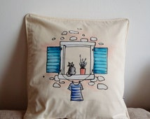Hand painted pillow cover, Cartoon painting - Black cat on a Window, Natural color twill, Unique item