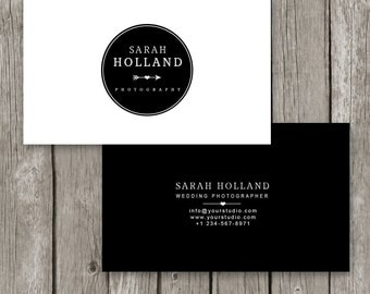 Photoshop Business Card Template - Black & White Logo Business Card for Photographers - Masculine Business Card -Photography Template - BC15
