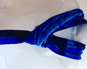Royal blue scarf, hand painted silk velvet scarf