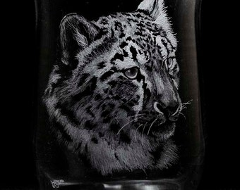 Snow Leopard Cub! Large Pillar Candle Holder. Engraved Glass.