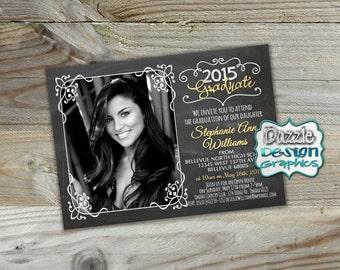 Chalkboard Graduation Announcement, Class of 2018 invite, Commencement Invitation, Graduation Open House invite | Professional prints