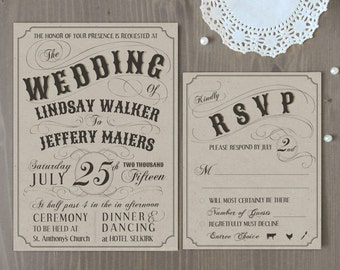 SAMPLE, Vintage Style Wedding Invitation, Wedding Invites, Modern Wedding Invite, Kraft Paper Invitation, Rustic Invite, Vintage Wedding