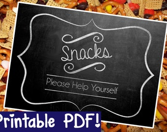 Snacks Chalkboard Sign - DIY - PRINTABLE - Instant Download, Print, Party - Paper Props Chalk Board signs - wedding, engagement or party