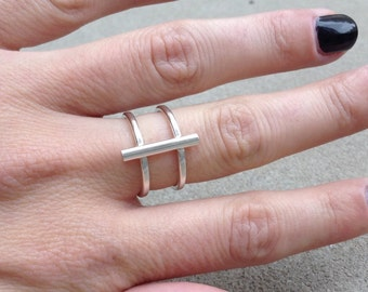 Sterling silver bar ring, silver cage ring, geometric silver ring