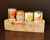 Set of 4 Unique Soy Wax Candles in Cut Beer Bottle Containers with Handmade Carrier - Repurposed True Vintage Rustic Inspired Art