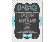 BBQ Baby Shower Invitation Blue - DIGITAL or PRINTED