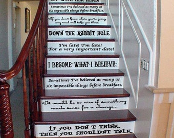 Alice In Wonderland Inspired Quote Set Wall or Stairs Decal
