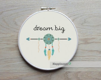 modern cross stitch pattern, Dream big, quote, aztec arrow PDF  ** instant download**