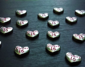 Sweet 16 Floating Charm for Floating Lockets-Silver Heart Floating Charm-Gift Idea