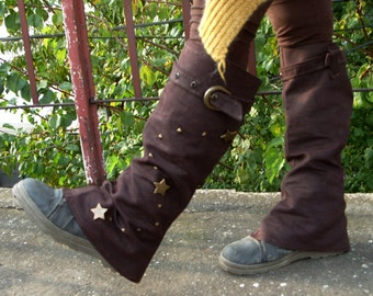 MorningStar - Steampunk Spats, Boot Covers, Boho Spats, Leg Warmers, Hippie Leg Warmers, Cosplay Gaiters, Spatterdashes, Peasant Spats