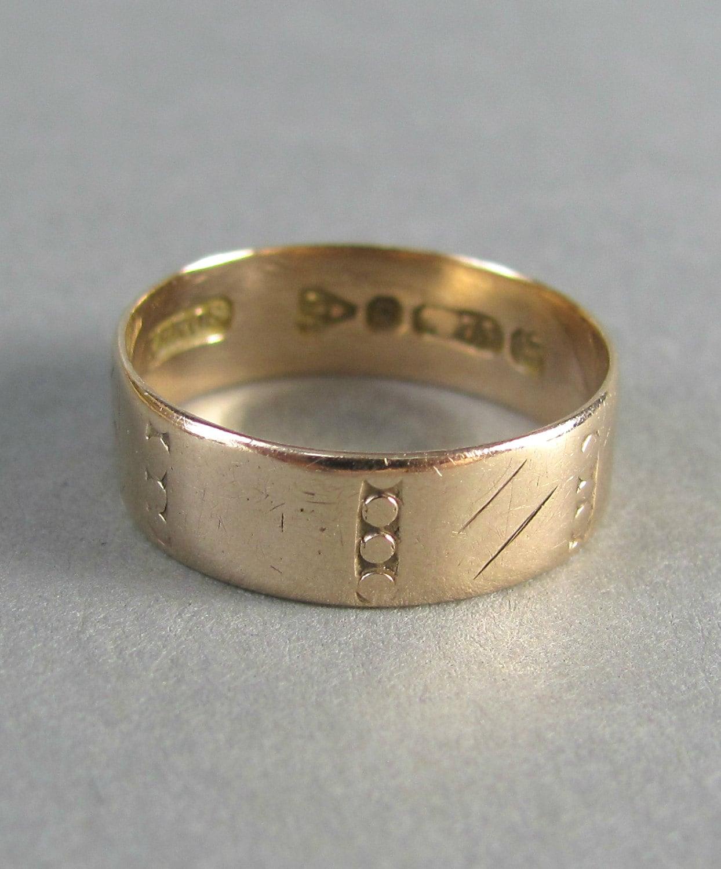 reserved engraved cigar band gold ring wedding ring