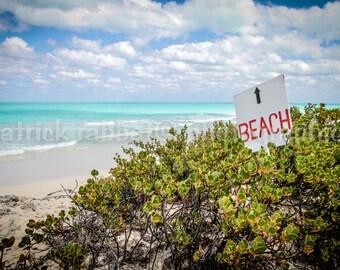 Beach Photo Fine Art Photography Blue Sky White Sand Nature Greenery Cuba Cayo Photo Vacation Caribbean Island Photography Turquoise Water