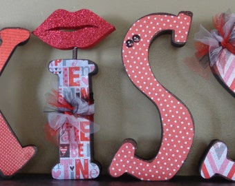 Valentines Decor, Chunky Letters,Valentines Craft, KISS  Letter set