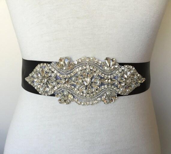 Black wedding sash evening sash rhinestone sash bridal sash crystal