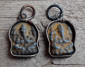 Small Rustic Ganesh  Pendant or Charm - 7/8 Inch - 21 mm