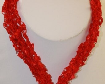 Fiber Necklace with Glass Angel w/matching earrings