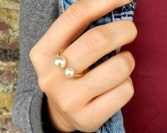 Gold Fill Double Pearl Ring, Gold Pearl Ring, Tiny Gold Ring, Midi Ring, Bridesmaid Jewelry Gift, Bridal Ring, Adjustable Ring, Midi Ring