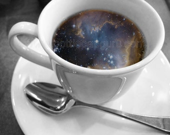 """COSMIC COFFEE CUP / 10x8"""" Printable Poster / Universe in a Mug Surreal Photography / Galaxy Print Photo for Wall Decor // Digital Download"""