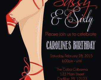 Red Shoe 60th Birthday Invitation • Women's Sassy & Sixty Birthday Invitation