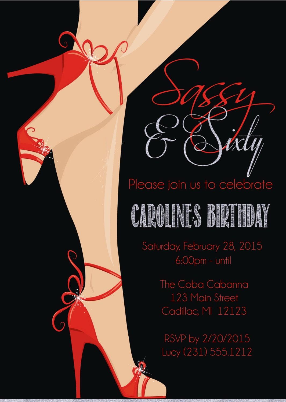 red shoe th birthday invitation women's sassy  sixty, Birthday invitations