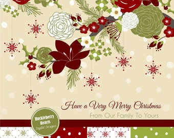 Christmas Flowers Digital Paper, Holiday Paper, Backgrounds, Scrapbook Paper, Vector