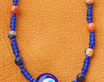 Evil Eye Gypsy Necklace with Cobalt Blue Glass, Orange Sodalite& Agate Beads+ Handformed Hammered Copper Wire Clasp