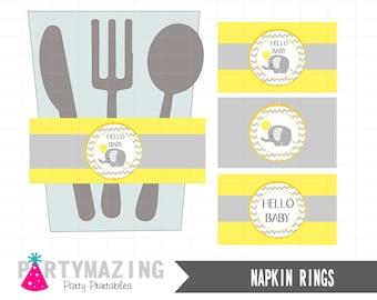 Yellow Elephant  Party Printable Napkin Rings, DIY Printable, Instant download, Yellow DIY Printable, Instant Download -D168 BBEY1