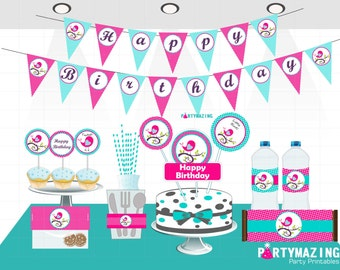 Birdie Party Set, Printable Little Bird 1st Birthday Party, Diy Party Birthday Package, Full Party Decoratio, Instant Download -D307  HBLB1