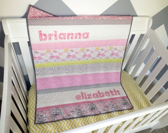 Personalized Baby Quilt - Monogrammed Custom Baby Quilt - Striped Baby Quilt - Nursery Decoration, Newborn Photo Prop, Baby Playmat