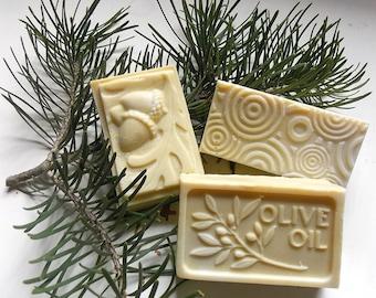 3 Bars of Pure Castile Soap, Shampoo Bars, Men's Soap, Cold Process Olive Oil Soap, Mild Natural Unscented Soap, Handcrafted Soap
