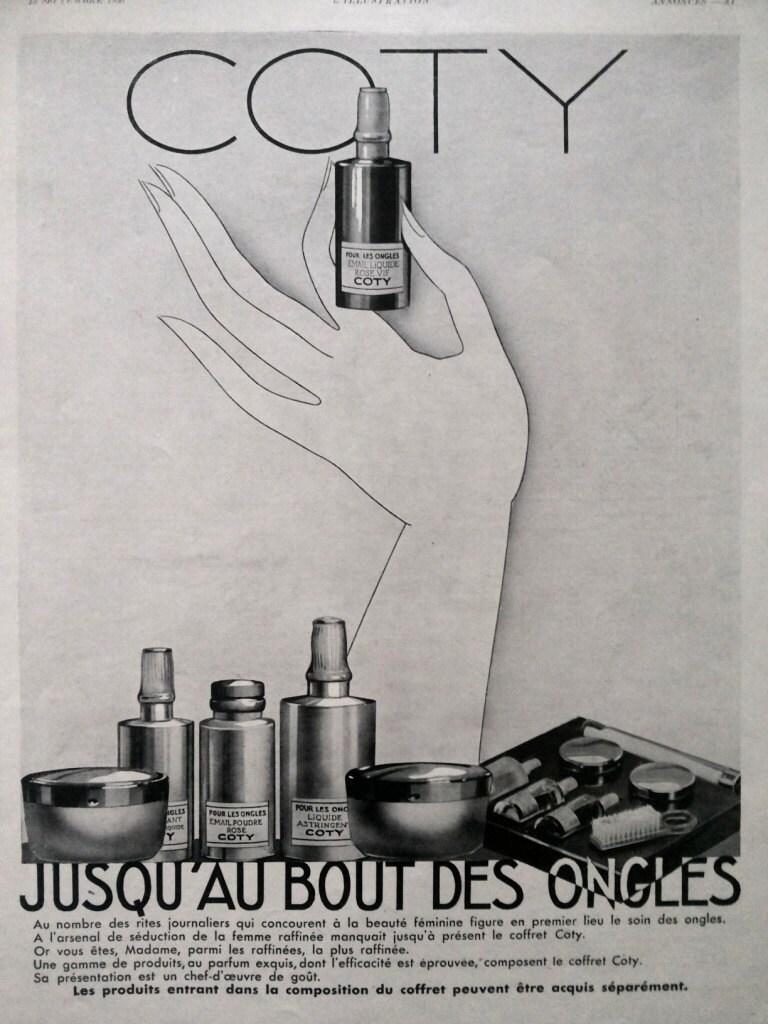 coty nail polish vintage advertising nail care retro poster. Black Bedroom Furniture Sets. Home Design Ideas