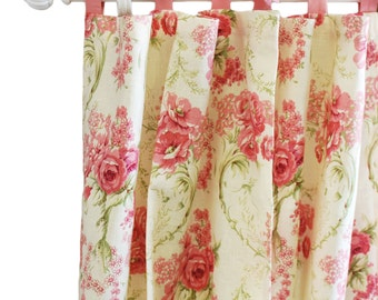 Pink Linen Rose Curtain Panels for Girls |  Roses for Bella Drapes