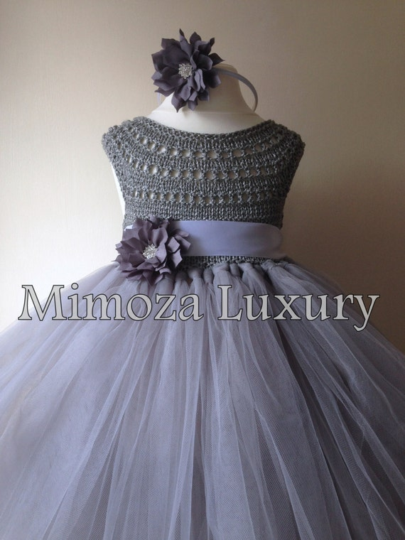 Silver Gray Grey Flowergirl dress, tutu dress, bridesmaid dress, princess dress, silk crochet top tulle dress, hand knit silk top tutu dress