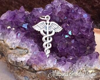 Caduceus Charm, Caduceus Pedant, Medical Charm, Doctor Charm, Sterling Silver Charm, Sterling Silver Pendant, PS01282