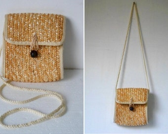 90s Boho Boxy Straw Purse Crossbody Bag ~ Natural Eco-Friendly Hippie Festival Messenger Satchel w/ Rope Strap & Button Up Closure