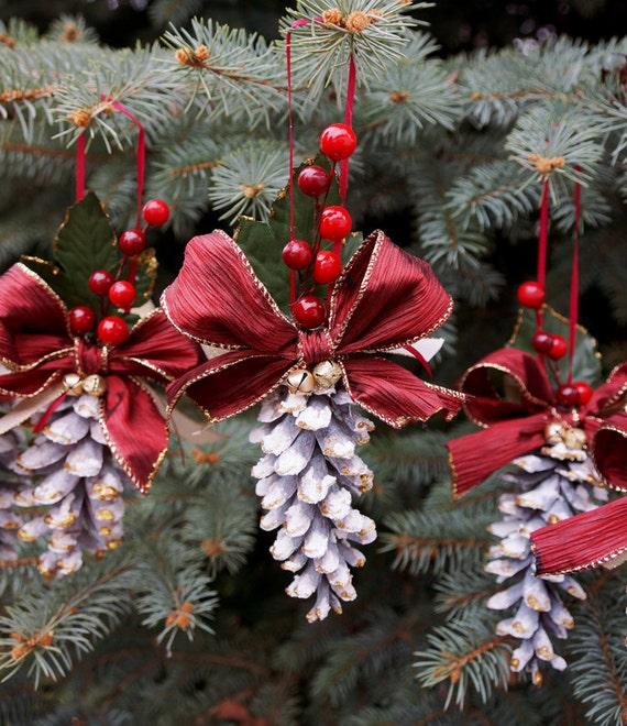 Pine cone christmas ornament pinecone wedding by for How to make pine cone christmas tree ornaments