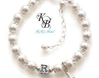 Personalized Flower Girl Bracelet, Pick Your Color, Religious Flowergirl Jewelry, Wedding Jewelry, Flowergirl Gift, Keepsake Gift