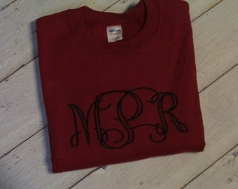 Monogrammed Womens Intertwined Font Crew neck Sweatshirt--fall winter apparel--Game day and football team colors
