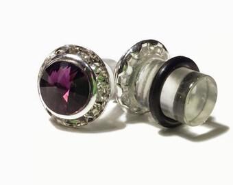 7/16 00g 0g 2g 4g 6g 8g Silver Amethyst PLUGS Made With Swarovski Elements Wedding Bridal Plugs Gauges Tunnels Bridesmaid