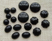Black cabochon destash lot - round, oval, octagon - plastic - jewelry supply, repair, craft supply - Halloween, gothic, vampire, costume